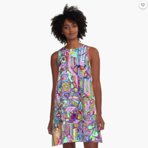A line dress YOU ARE WHAT YOU EAT by Jacob Wayne Bryner artJWB
