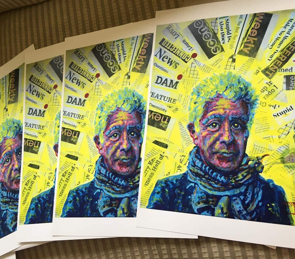 Anthony Bourdain original tribute portrait painting by Jacob Wayne Bryner ARTJWB in Colorado